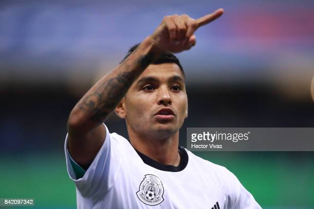 Jesus Corona celebrates after a victory during the match between Mexico and Panama as part of the FIFA 2018 World Cup Qualifiers at Estadio Azteca on...