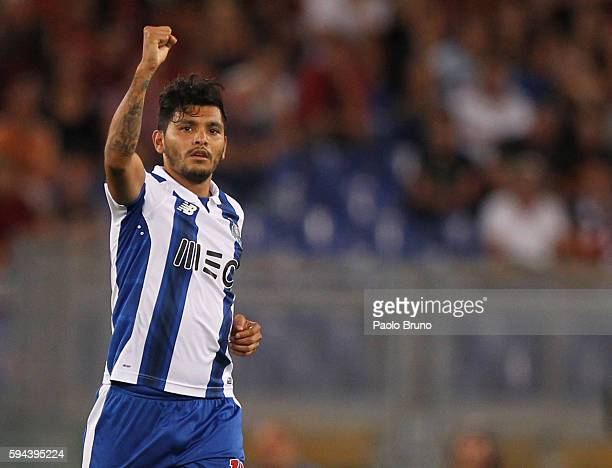 Jesus Corona FC Porto celebrates after scoring the team's third goal during the UEFA Champions League qualifying playoff round second leg match...