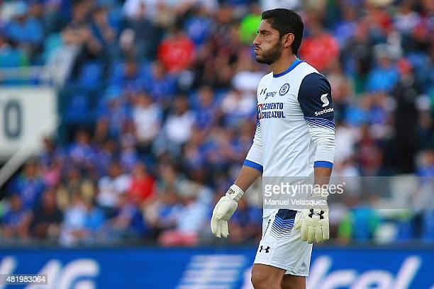 Jesus Corona goalkeeper of Cruz Azul breathes during a 1st round match between Cruz Azul and Morelia as part of the Apertura 2015 Liga MX at Azul...