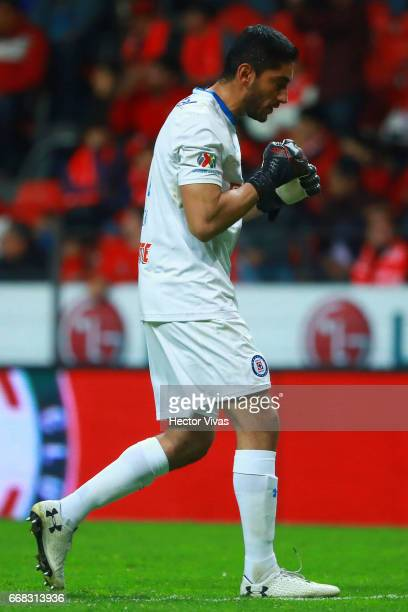 Jesus Corona goalkeeper of Cruz Azul celebrates after the second goal of his team during the 10th round match between Toluca and Cruz Azul as part of...