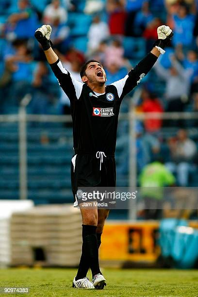 Jesus Corona goalkeeper of Cruz Azul celebrates scored goal during their match in the 2009 Opening tournament the closing stage of the Mexican...