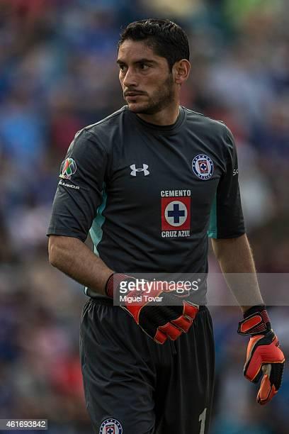 Jesus Corona goalkeeper of Cruz Azul looks on during a match between Cruz Azul and Santos Laguna as part of 2nd round Clausura 2015 Liga MX at Azul...