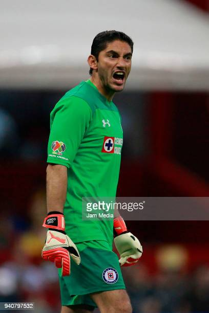 Jesus Corona goalkeeper of Cruz Azul reacts during the 13th round match between America and Cruz Azul as part of the Torneo Clausura 2018 Liga MX at...