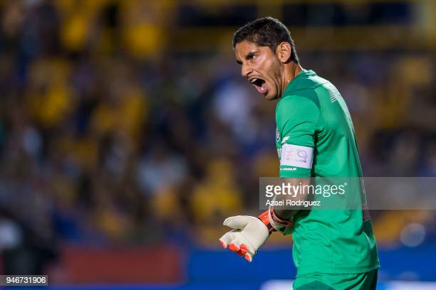 Jesus Corona goalkeeper of Cruz Azul reacts during the 15th round match between Tigres UANL and Cruz Azul as part of the Torneo Clausura 2018 Liga MX...