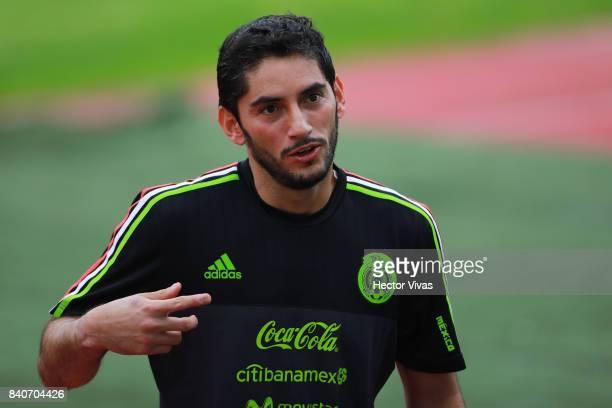 Jesus Corona goalkeeper of Mexico gestures during a training session at Centenario Stadium on August 28 2017 in Cuernavaca Mexico