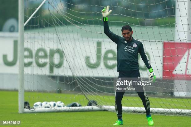 Jesus Corona goalkeeper of Mexico gestures during a training session as part of the preparation for FIFA Russia 2018 World Cup at Centro de Alto...