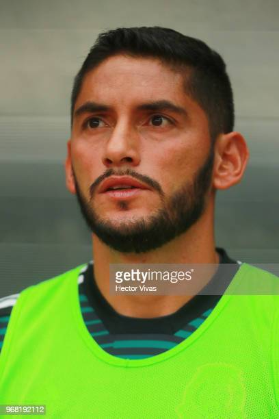 Jesus Corona goalkeeper of Mexico looks on during the International Friendly match between Mexico v Scotland at Estadio Azteca on June 2 2018 in...