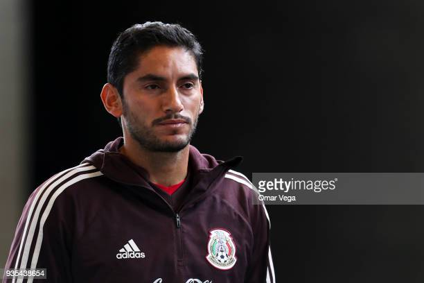 Jesus Corona goalkeeper of Mexico looks on prior the Mexico National Team training session at Avaya Stadium on March 20 2018 in San Jose California