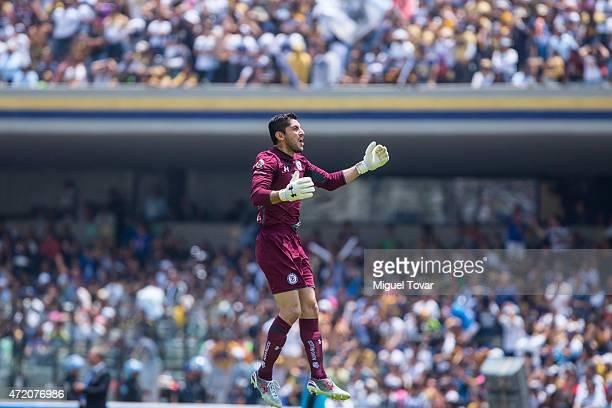 Jesus Corona of Cruz Azul celebrates a goal of his team during a match between Pumas UNAM and Cruz Azul as part of 16th round of Clausura 2015 Liga...