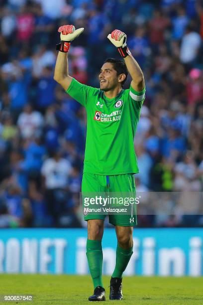 Jesus Corona of Cruz Azul celebrates a scored goal during the 11th round match between Cruz Azul and Pachuca as part of the Torneo Clausura 2018 Liga...