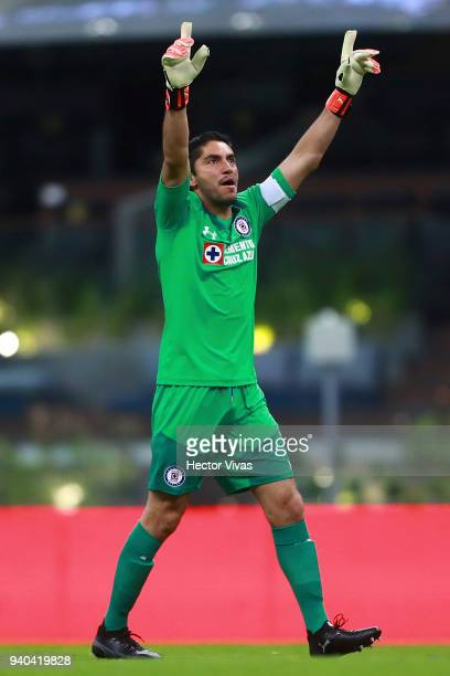Jesus Corona of Cruz Azul celebrates the first goal of his team during the 13th round match between America and Cruz Azul as part of the Torneo...