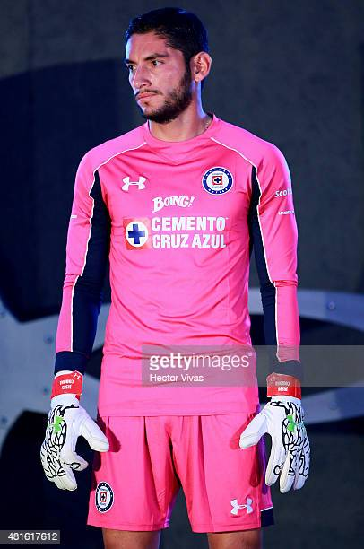 Jesus Corona of Cruz Azul looks on during the presentation of the new kit at Club Deportivo La Noria on July 22 2015 in Mexico City Mexico