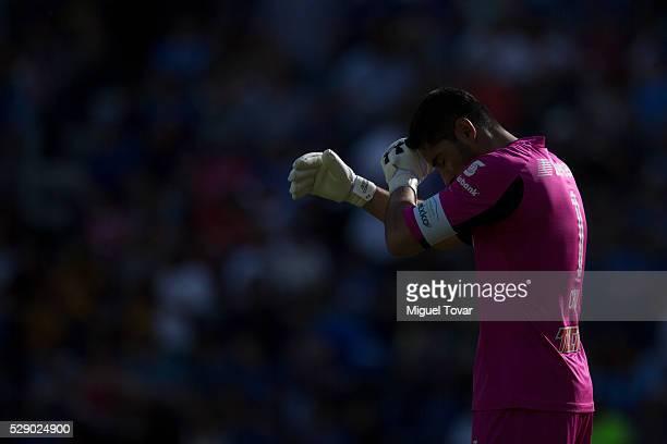 Jesus Corona of Cruz Azul reacts during the 17th round match between Cruz Azul and Tigres UANL as part of the Clausura 2016 Liga MX at Azul Stadium...