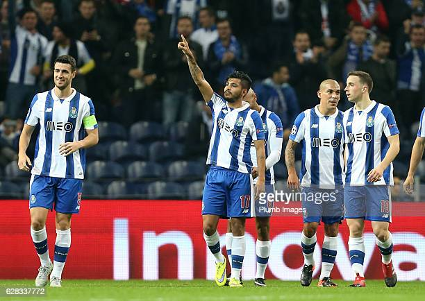 Jesus Corona of FC Porto celebrates after scoring to make it 20 during the UEFA Champions Leagues match between FC Porto and Leicester City at...