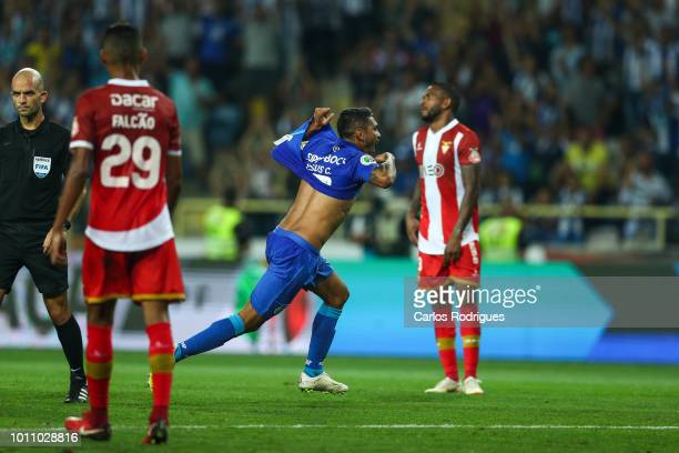 Jesus Corona of FC Porto celebrates scoring FC Porto third goal during the match between FC Porto and Desportivo das Aves for the Portuguese Super...