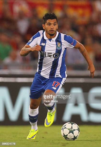 Jesus Corona of FC Porto in action during the UEFA Champions League qualifying playoff round second leg match between AS Roma and FC Porto at Stadio...