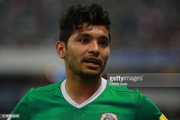 Jesus Corona of Mexico gestures during the match between Mexico and Canada as part of the FIFA 2018 World Cup Qualifiers at Azteca Stadium on March...