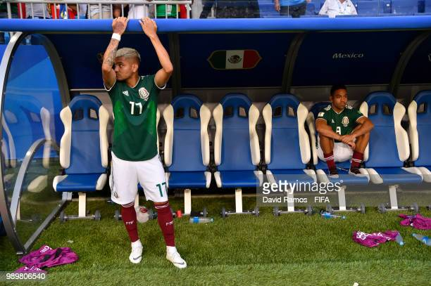 Jesus Corona of Mexico looks dejected following his sides defeat in the 2018 FIFA World Cup Russia Round of 16 match between Brazil and Mexico at...