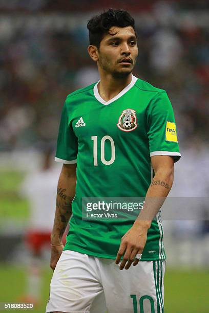 Jesus Corona of Mexico looks on during the match between Mexico and Canada as part of the FIFA 2018 World Cup Qualifiers at Azteca Stadium on March...