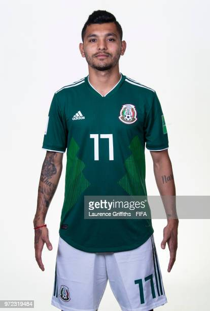 Jesus Corona of Mexico poses for a portrait during the official FIFA World Cup 2018 portrait session at the Team Hotel on June 12 2018 in Moscow...
