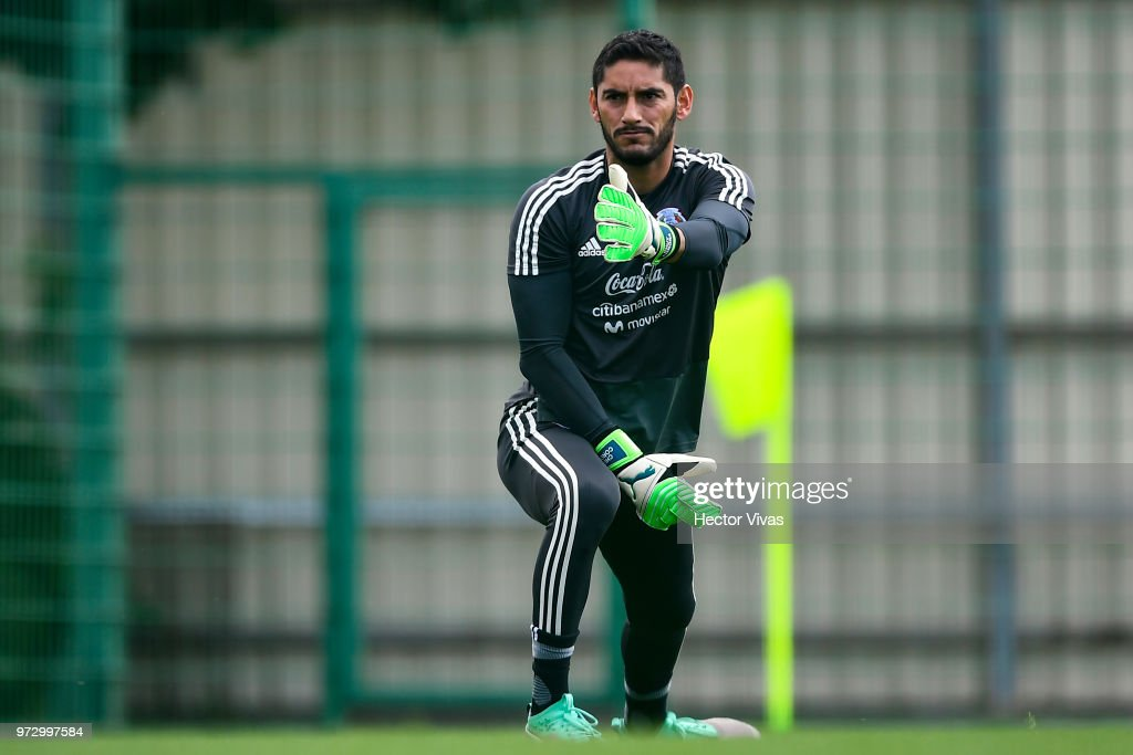 Jesus Corona of Mexico, warms up during a training session at team training base Novogorsk-Dynamo on June 13, 2018 in Moscow, Russia.