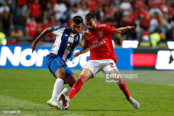 Jesus Corona of Porto vies for the ball with Rafa Silva of Benfica during the Portuguese League football match between SL Benfica and FC Porto at Luz...