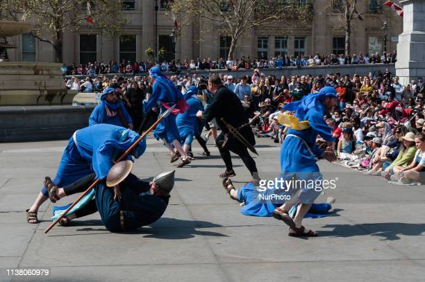 Jesus' disciples fight with the Guards of Sanhedrin in the Garden of Gethsemane during a Good Friday performance of 'The Passion of Jesus' by...