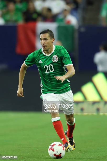 Jesus Dueñas of Mexico drives the ball during the friendly match between Mexico and Ghana at NRG Stadium on June 28 2017 in Houston Texas