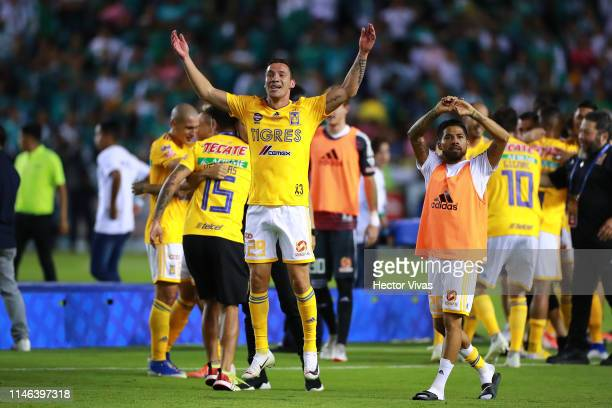 Jesus Dueñas of Tigres celebrates winning the championship after the final second leg match between Leon and Tigres UANL as part of the Torneo...