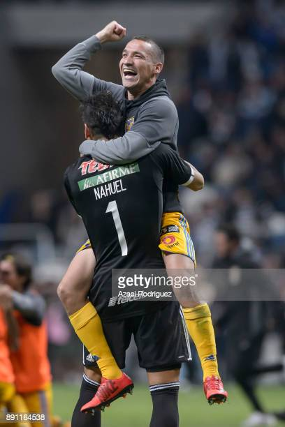 Jesus Dueñas of Tigres celebrates with teammate Nahuel Guzman after winning the second leg of the Torneo Apertura 2017 Liga MX final between...