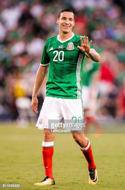 Jesus Duenas of Mexico gestures during a Group C match between Mexico and El Salvador as part of Gold Cup 2017 at Qualcomm Stadium on July 09 2017 in...