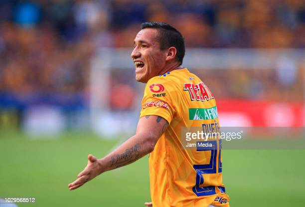 Jesus Duenas of Tigres appeals during the 6th round match between Tigres UANL and Veracruz as part of the Torneo Apertura 2018 Liga MX at...