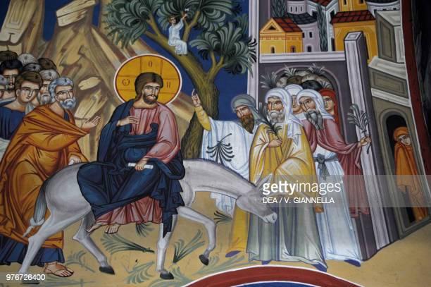 Jesus entering Jerusalem fresco in the old chapel of Saint Sava Belgrade Serbia