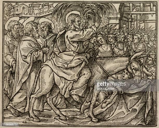Jesus entering Jerusalem Gospel of John engraving from Evangelia Arabice et Latine Tipografia Medicea Rome 1591