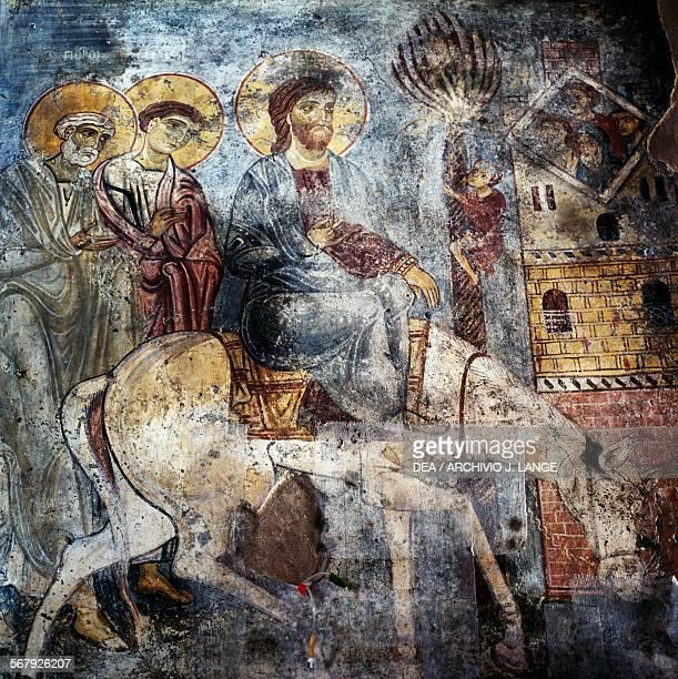 Jesus entering Jerusalem on a donkey frescoes inside the monastery of Panagia Antifonitria Myriokefala Crete Greece