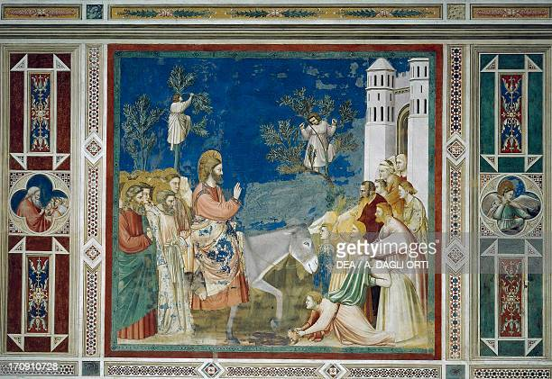 Jesus' entry into Jerusalem by Giotto detail from the cycle of frescoes Life and Passion of Christ 13031305 after the restoration in 2002 Scrovegni...