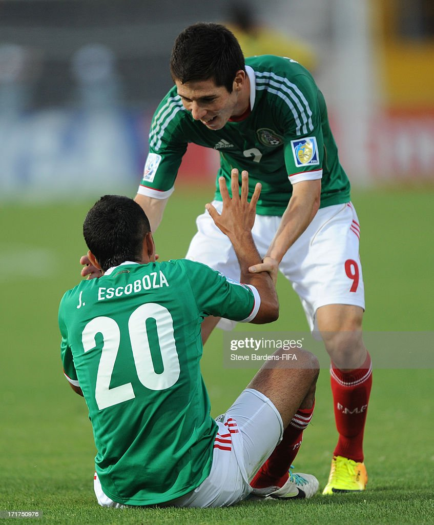 Jesus Escoboza of Mexico celebrates his goal with Marco Bueno during the FIFA U20 World Cup Group D match between Mali and Mexico at Kamil Ocak Stadium on June 28, 2013 in Gaziantep, Turkey.