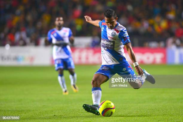 Jesus Escoboza of Puebla kicks the ball during the second round match between Morelia and Puebla as part of the Torneo Clausura 2018 Liga MX at...