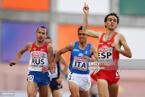 Jesus Espana of Spain wins the men's 3000m during day two of the Spar European Team Championships at the Estadio Municipal DrMagalhaes Pessoa on June...