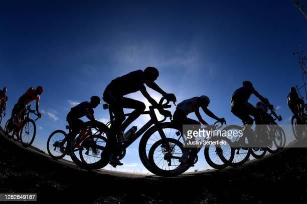 Jesus Ezquerra Muela of Spain and Team Burgos - BH / Alexander Kamp Egested of Denmark and Team Trek - Segafredo / Peloton / Silhouette / during the...