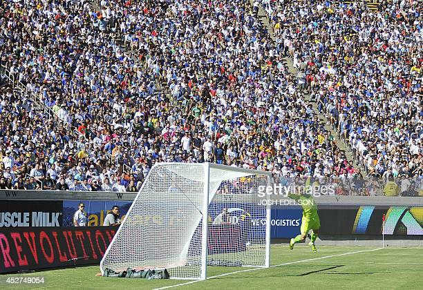 Jesus Fdez Goal Keeper for Real Madrid attempts to block a penalty kick during an International Champions Cup match against Inter Milan in Berkeley...