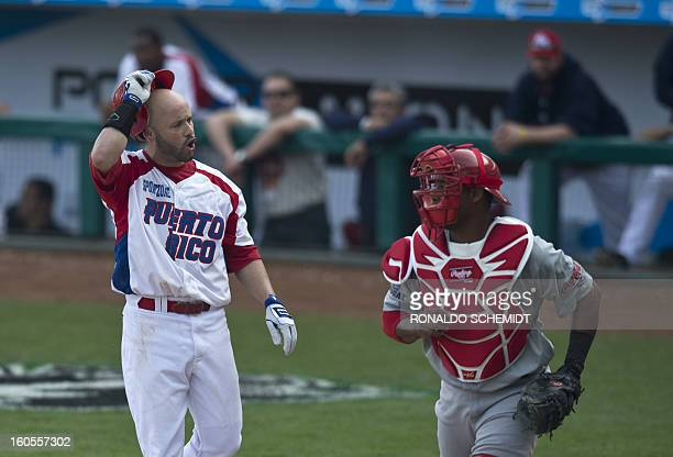 Jesus Feliciano of Criollos de Caguas of Puerto Rico gestures during a match against Leones del Escogido of Dominican Republic during the 2013...