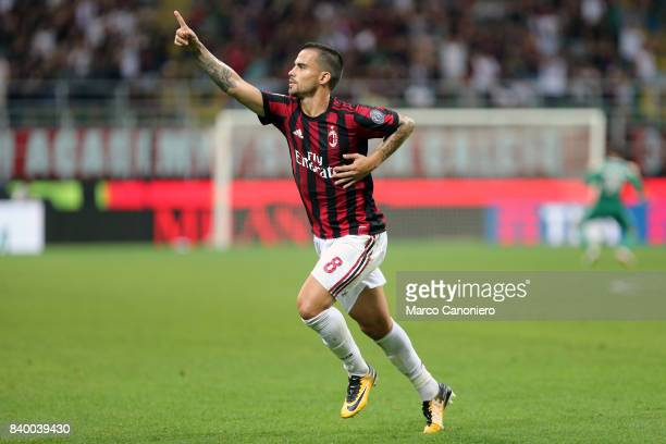 Jesus Fernandez Saez Suso of AC Milan celebrates after scoring the second goal of Ac Milan during the Serie A football match between AC Milan and...