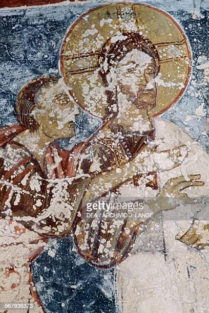 Jesus fresco in the Byzantine church of Agios Georgios Vathi Crete Greece