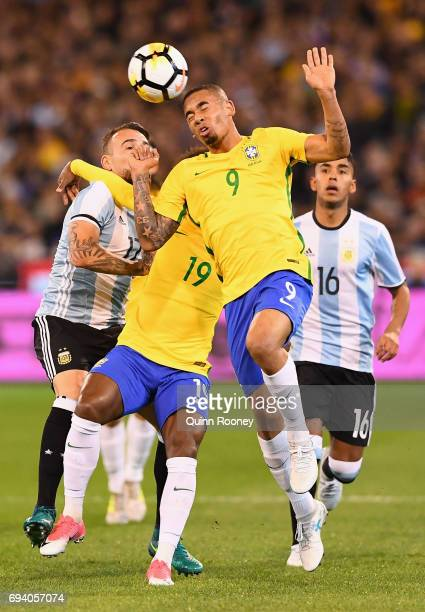 Jesus Gabriel of Brazil heads the ball during the Brazil Global Tour match between Brazil and Argentina at Melbourne Cricket Ground on June 9 2017 in...