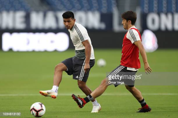 Jesus Gallardo and Oswaldo Alanis fight for the ball during the traning session prior to the international friendly game between Mexico and United...