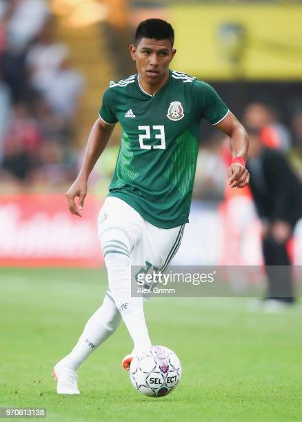 Jesus Gallardo of Mexico controles the ball during the international friendly match between Denmark and Mexico ahead of the FIFA World Cup Russia...