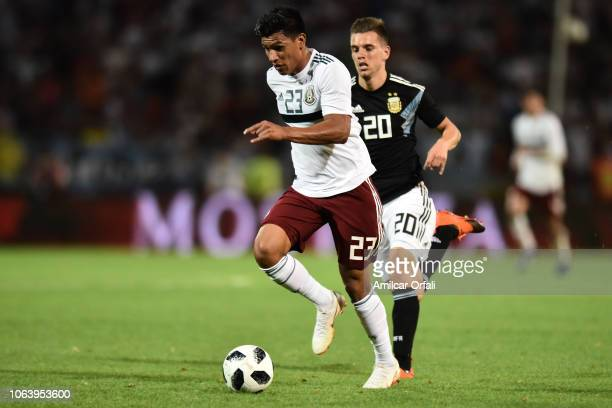 Jesus Gallardo of Mexico controls the ball during a friendly match between Argentina and Mexico at Malvinas Argentinas Stadium on November 20 2018 in...