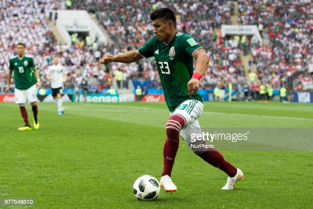 Jesus Gallardo of Mexico controls the ball during the 2018 FIFA World Cup Russia Group F match between Germany and Mexico at Luzhniki Stadium in...