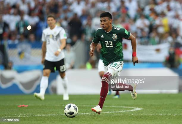 Jesus Gallardo of Mexico controls the ball during the 2018 FIFA World Cup Russia group F match between Germany and Mexico at Luzhniki Stadium on June...